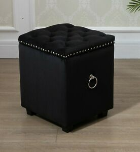 Cubix Black Fabric Storage Ottoman Tufted Blanket Box Foot Stool Studs and Rings
