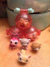 Littlest Pet Shop Lot Of 7 Mini Figures &Travel Carrying Case Cute! (G)