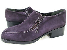 DONALD J. PLINER 'Audra' Purple Suede Loafer Bootie Side Zip Womens 11 Low Heels