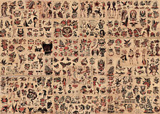 "Sailor Jerry Traditional Vintage Style Tattoo Flash 85 Sheets 11x14"" old school"