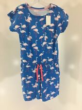 BODEN GIRLS SHORT SLEEVE FLAMINGO JERSEY ROMPER BLUE/WHITE/CORAL 11-12Y NWT