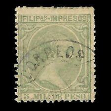 Sellos. España.FILIPINAS.1891-93.Alfonso XIII.5m.verde claro.Usado.Edifil 90