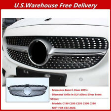 For Mercedes Benz W205 C200 C250 C300 C350 Diamond Grille Grill Sport AMG 2015+