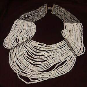 """BCBG Maxazria Multi Chain Seed Bead Runway Statement Necklace 14"""" First Drop"""