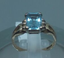 9k Gold 9ct solid gold  blue topaz ring size N             R017