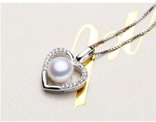 Sterling Silver 8mm Freshwater Pearl Cubic Zirconia Heart Pendant Necklace PE4