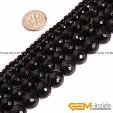 Natural AAA Grade Black Tourmaline Gemstone Faceted Round Jewelry Making Beads
