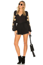 L*SPACE Gianna Long Sleeve V-Neck Embroidered Elastic Waist Romper Black S $110