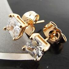 FSA015 GENUINE 18K ROSE GOLD G/F SOLID PRINCESS DIAMOND SIMULATED STUD EARRINGS