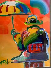 "PETER MAX ORIGINAL UMBRELLA MAN - ACRYLIC ON PAPER - 38"" X 26"""