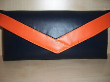NAVY BLUE AND ORANGE classic faux leather envelope clutch bag,  BN UK made