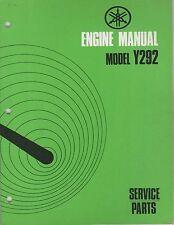 1972 YAMAHA SNO JET ENGINE  Y292 SERVICE PARTS MANUAL (971)