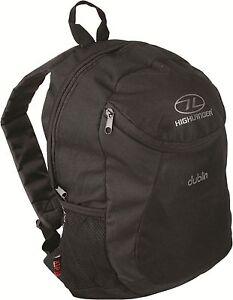 Highlander Dublin Daysack Bag 15L Black Rucksack Backpack Lightweight