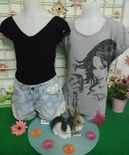 vêtements occasion fille 14 ans,short jean tee-shirt DISNEY VIOLETTA,débardeur