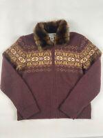 Talbots Collection Wool Jacket M Faux Fur Fair Isle Knit Cardigan Sweater