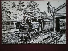 POSTCARD WORCESTERSHIRE BEWDLEY STATION & GWR LOCO  PENCIL SKETCH