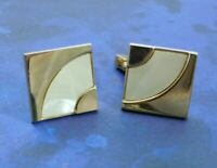 Vintage Swank Mother of Pearl Cuff Links Gold Tone Square