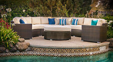 Del Mar 5-piece Deep Seating Wicker Curved Modular Outdoor Patio Set