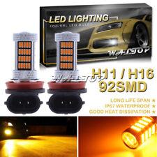 2x 92SMD H11 H16 Amber LED Conversion Bulb High Power Projector Fog Light Bulbs