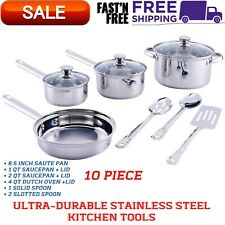 Cookware Set Ultra-Durable Stainless Steel Kitchen Tools Pot Pans Bowls 10 Piece