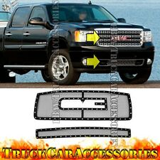 For GMC Sierra HD 2500/3500 07-2010 Black Mesh Rivet OVERLAY Grille Combo w/Logo