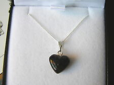 Baltic Amber Heart Necklace -Sterling Silver Chain. - NEW DARK BROWN AMBER