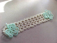 Tatted Bookmark Cream with 2 Mint Shamrocks Lacey New Tatting by Dove Country