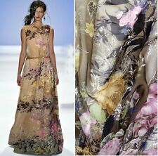 DESIGNER 100% PURE SILK CHIFFON FABRIC WITH FLORAL PRINT BY THE METER S043