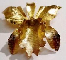 rare broche couleur or fleur orchidée bijou vintage perle nacre unique 2580
