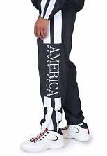 perrY ELLIS America Jogging Pantaloni Xs M Nuovo Tracciare Black Nero Bianco