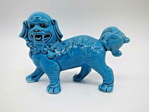Turquoise Blue Chinese Jingdezhen Porcelain Fu Dog Guardian Lion Statue