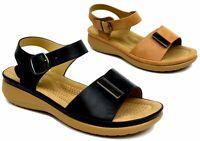 Ladies New Fashion-Wedge Heel Easy Fasten Pin Buckle Soft Cushioned Sandal UK