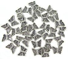 30 Metall Perlen Spacer Schmetterling 11,5mm SILBER Bastel NEU Schmuckteil SP11M