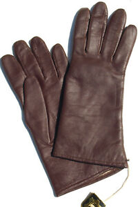 Gloves Leather Women Finger Padded Knitted Lined Leather Gloves Aubergine 7