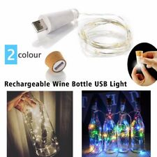 1.5M Rechargeable USB Bottle Cork Wire Fairy String Light with 15 LEDs 2 color
