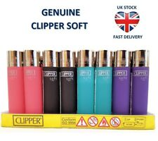 4 X 'soft Touch' Clipper Lighters Gas Refillable Flint Lighter - Genuine Product