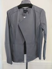 H by Halston Open Front Genuine Grey Leather Jacket with Ribbed Panels size 14