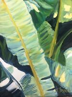 Kristi Cavett Jones Banana Leaf study Oil Impressionism Painting Collectible Art