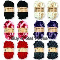 New 5x70grams Pompom Knitting Yarn Knitting Pompom Winter  Craft Assorted