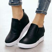 Women's Casual Wedge Loafers Slip On Zipper Hidden Heel Shoes Platform Moccasin