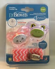 Dr. Brown's PreVent 2 Pacifiers with 1 Clip Pink & Purple 0-6 Months