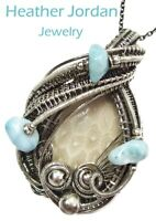Fossilized Coral Wire-Wrapped Pendant Necklace in Sterling Silver with Larimar