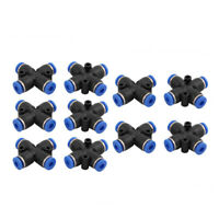 10Pcs 4mm Dia 4 Ways Hose Pneumatic Air Quick Fitting Push In Connector Black