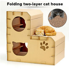 Cat Tree Double Layer House Assembled Corrugated Folding Scratcher Playground