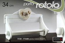 PORTA ROTOLO CUCINA IN LEGNO BIANCO VINCY 34 CM DECORO ROSE TOD-574481