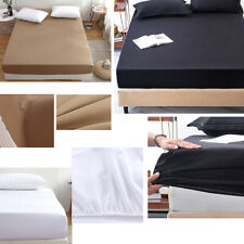 Extra 25cm Deep Fitted Sheet 100% Egyptian Cotton Single Double King bed Sheets