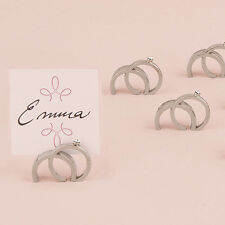 Double Rings with Crystal Wedding Place Card Holder Set of 8 Weddingstar