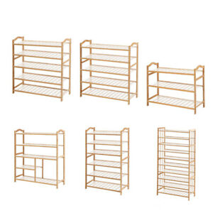 Levede Bamboo Shoe Rack Storage Wooden Organizer Shelf Shelves Stand 3-10 Tier