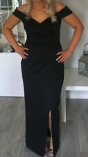 Black Evening Dress. With Front Split, Off Shoulder.