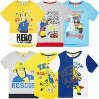 Fireman Sam Character Boys Short Sleeve Cotton Tops T-Shirts Clothes 2-6 Years